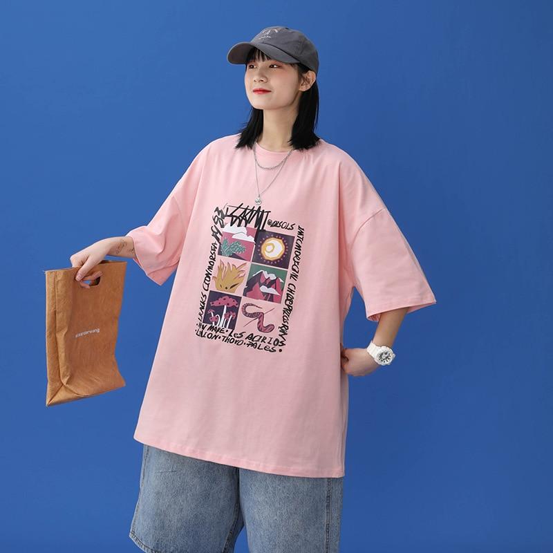Oversized T-shirt Women 100% Cotton Short Sleeve Unisex O-Neck Tshirt Fashion Casual Harajuku Plus S