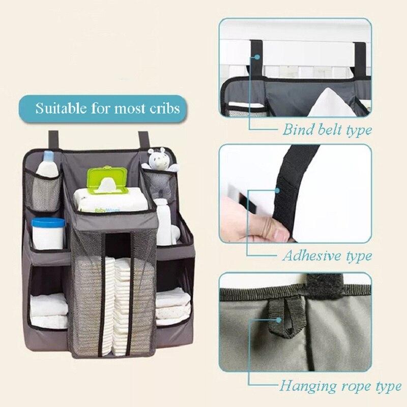 حقيبة تخزين متعددة الوظائف لسرير الأطفال ، ورف تخزين بجانب السرير ، ومهد حفاضات ، وحقيبة فرز للعناية بالطفل