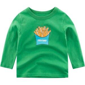 Рубашки для мальчиков с мультяшным принтом картошки фри Топы с длинным рукавом для мальчиков детская одежда повседневная одежда для больших мальчиков рубашки 2-9 лет детская футболка