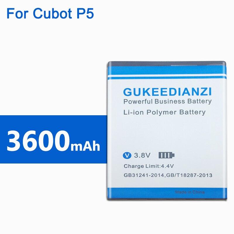 GUKEEDIANZI 3600mAh GT99 2019 nueva batería de polímero de litio para teléfono móvil Cubot P5 reemplazo para teléfono móvil probado bien batería