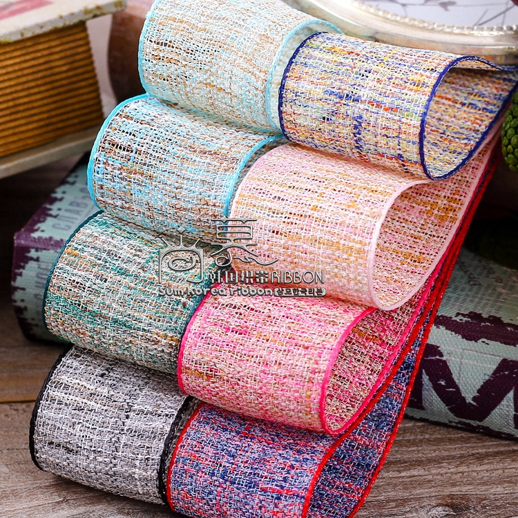 Cinta de lino de doble color con bordes coloridos de 25mm y 40mm de 100 yardas para lazos de pelo, accesorios para manualidades, suministros para manualidades, lazo de embalaje de ramo