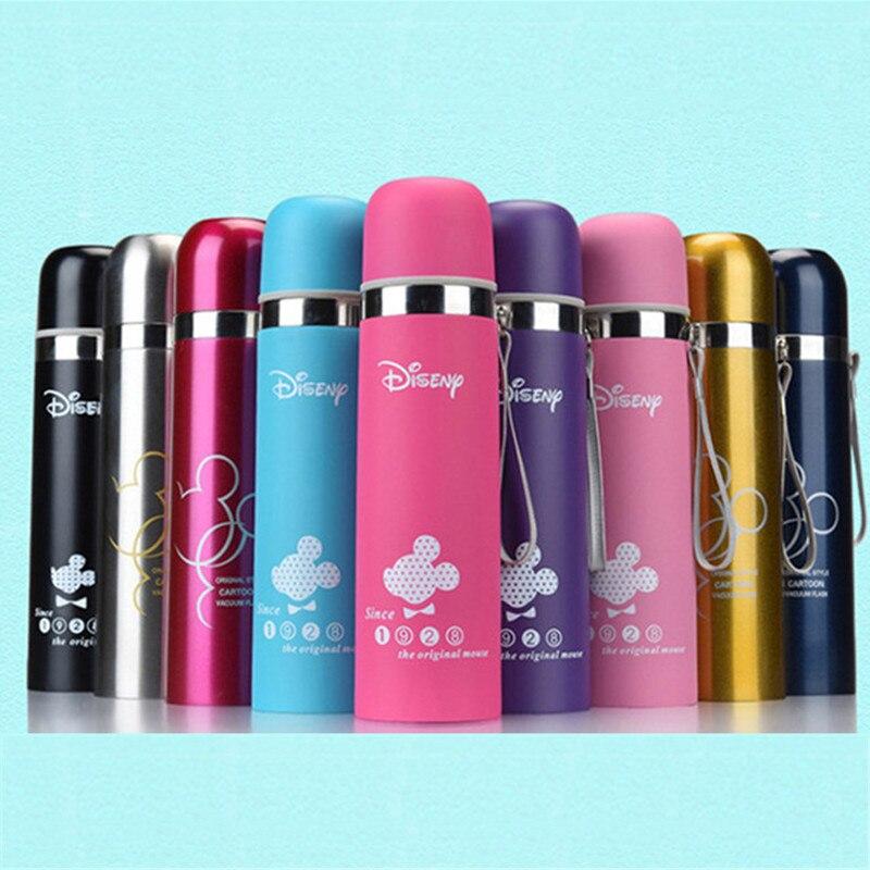 350mL 500mL taza de dibujos animados de Mickey botella de bala de agua de aislamiento al vacío termo de acero inoxidable tazas botella portátil al aire libre