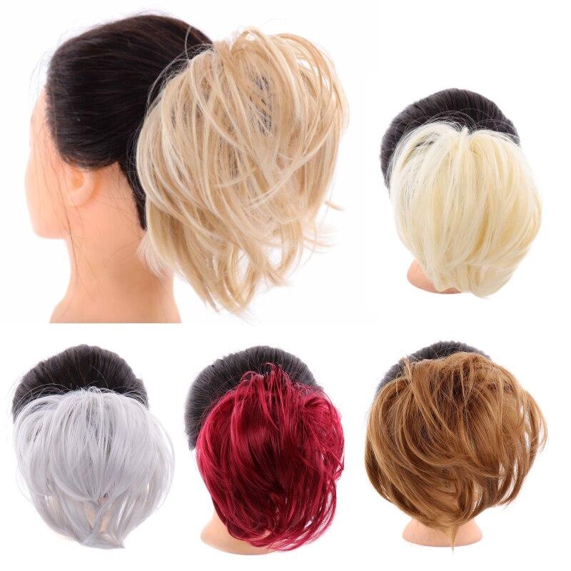 Синтетический тусклый гибкий пучок волос прямой пончик-шиньон эластичный грязный резинки обертывание для конского хвоста расширение для женщин