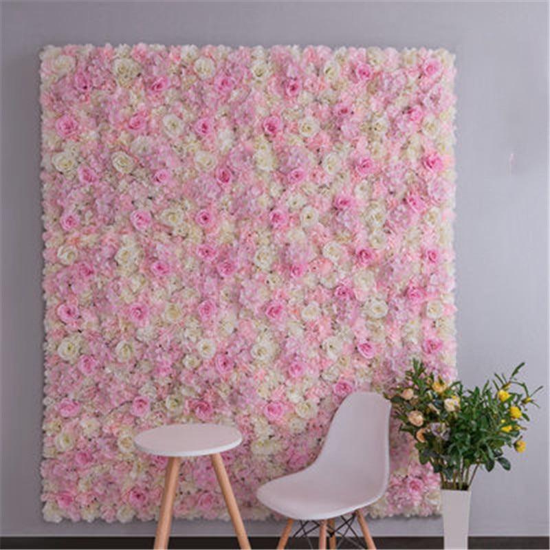 4pcs/1 lot flower wall panel silk rose artificial flowers wedding flower decoration flower wall for wedding backdrop decoration
