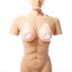 Forma de mama para homem traje crossdresser com alças travestis roupas cd formulário 600 g/par b xícara bege