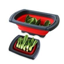 Colador de colador plegable de silicona para lavar verduras y frutas