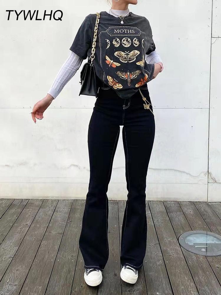 Джинсы-клеш Y2k женские с завышенной талией, Модные Винтажные эластичные брюки-клеш из денима, брюки из денима с широкими штанинами, коричнев...