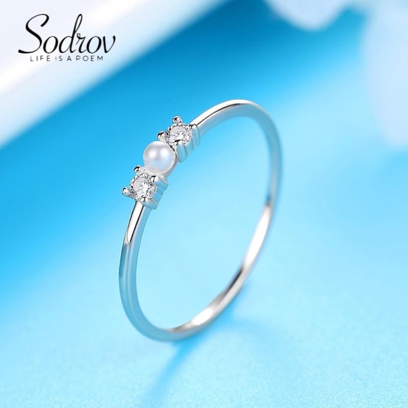 SODROV Sterling Silver Rings Pearl Rings for Women Simple Silver Gold Women Rings Jewellery