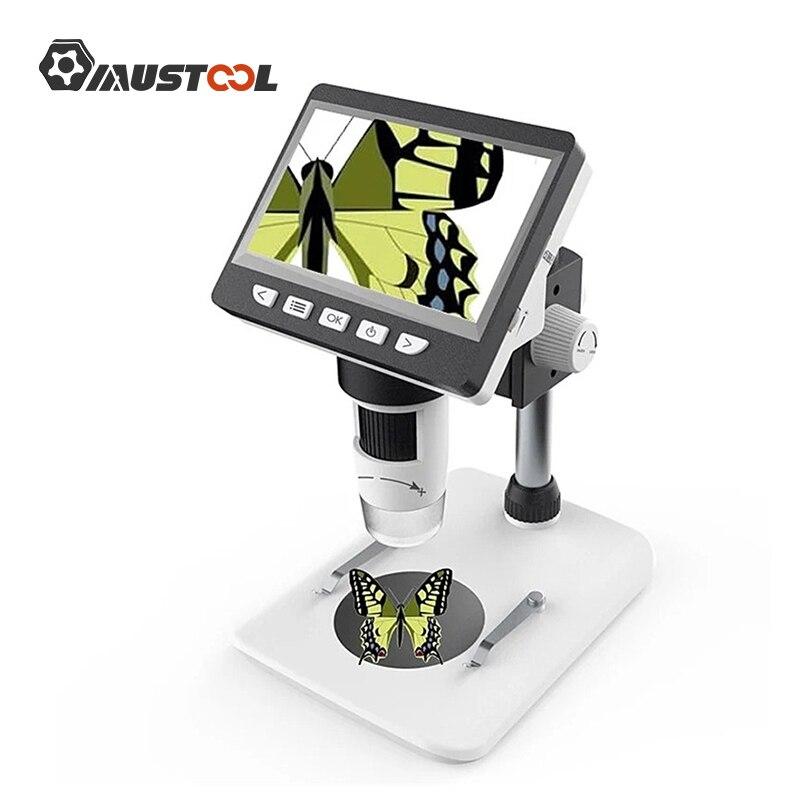 Mustool g700 1000x microscópio digital 4.3 polegadas hd 1080 p lcd eletrônico microscópio de vídeo de solda reparação do telefone lupa ferramenta