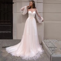 sevintage puffy long sleeves boho wedding dress pearls beach bride dresses tulle bridal gown plus size princess party dresses