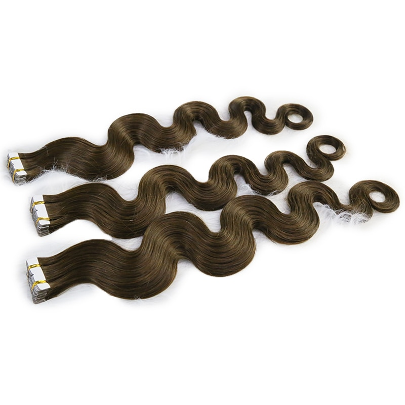 Body Wave Tape In Human Hair Extension 100% Real Russian Mongolian Virgin Hair Extensions Color #4 14-24 Inch