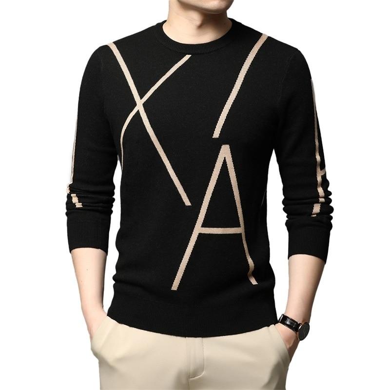2021 ملابس رجالي رياضية موضة جديدة العلامة التجارية متماسكة الراقية الشتاء كنزة بدون سحّاب من الصوف الأسود سترة للرجل كول الخريف عادية البلوز