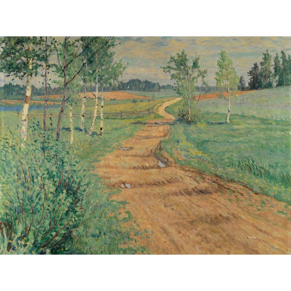 3 ręcznie malowane obrazy nauczycieli uczelni-ścieżka kraju Nikolay Bogdanov Belsky krajobraz-obraz olejny na płótnie