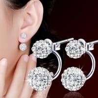 tremella needle earrings for women korean fashion accessories diamond ball buckle studs rear hanging jewelry bright comfort