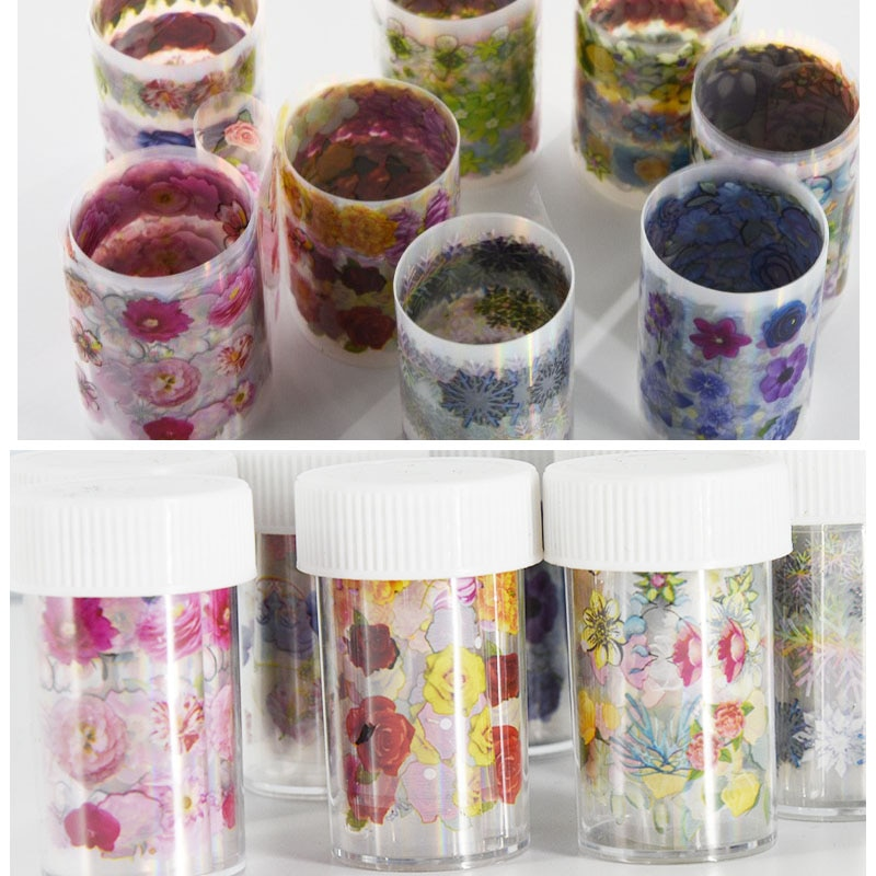 8 Bottles/lot 4X100cm/roll Nail Art Transfer Foil Stickers Decorations Decals 8 Rolls Flower Nail Art Stickers (with Bottle)