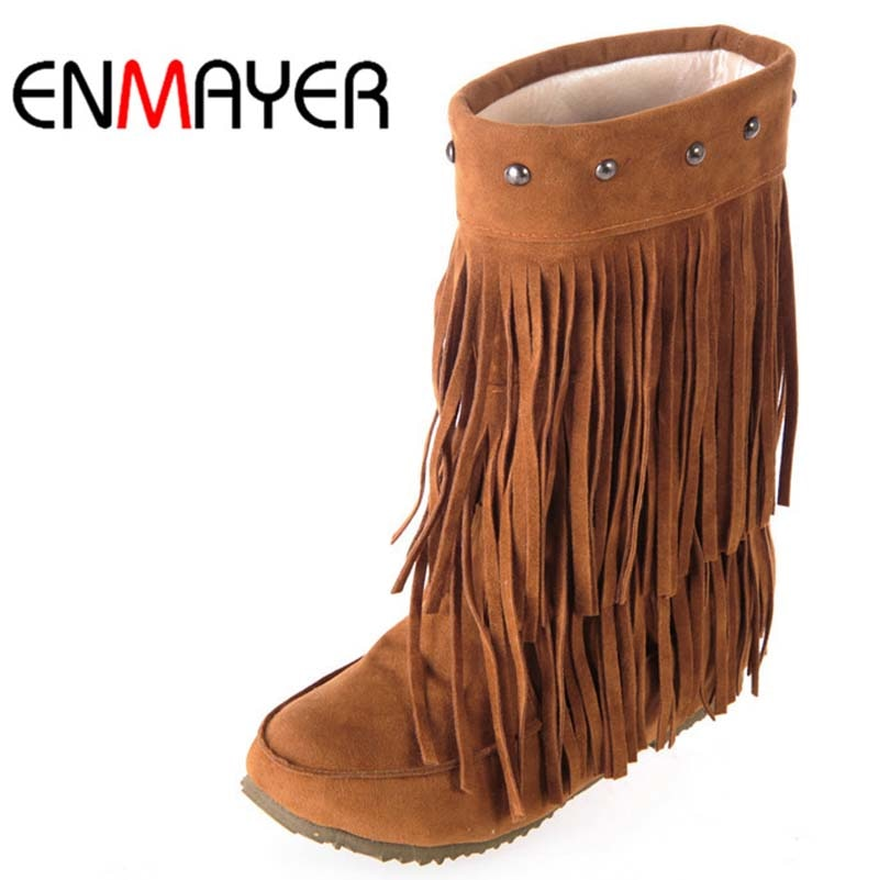 ENMAYER 3 طبقة هامش الشرابة أحذية الكعب شقة جولة تو منتصف العجل الثلوج أحذية كبيرة Size34-43 الشتاء أحذية للنساء أحذية
