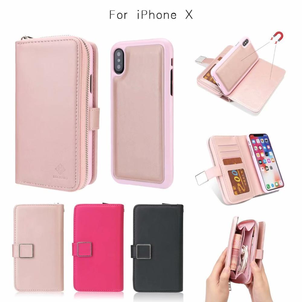 Funda de teléfono de cuero de lujo 2 en 1 para iphone X XS XR XS MAX 6 7 8 6S plus cartera caso para ip 5,8, 6,1, 6,5, 2019