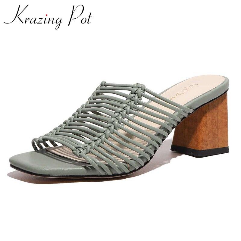 Krazing pot 2020 melhor saling online estrela recomendar peep toe salto alto gladiador sólido senhora madura diária usar sandálias femininas l39