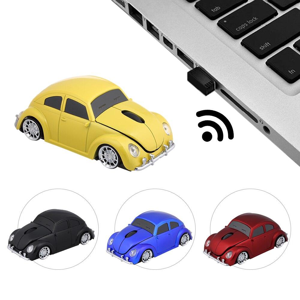 Rato do Carro sem Fio Forma do Carro Ratos com Diodo Emissor de Luz Usb para Computador Ratos Dpi Receptor Mouse Portátil Rato 2.4g Usb 1000