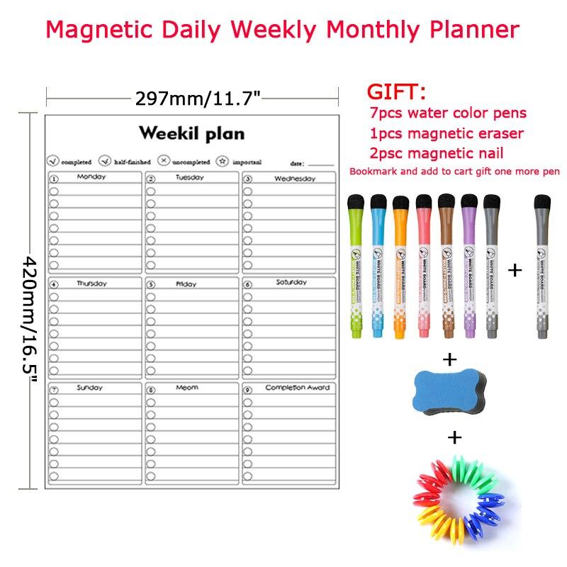 Стирающейся от маркера Магнитный еженедельно Ежемесячный Планировщик Календарь Доска сообщения для рисования memo графика белая доска магн...
