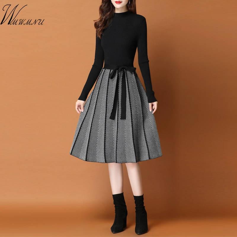 فستان نسائي متوسط الطول, فستان كاجوال مُحاك مع سترة وطيات بأكمام طويلة يصلح للعمل المكتبي