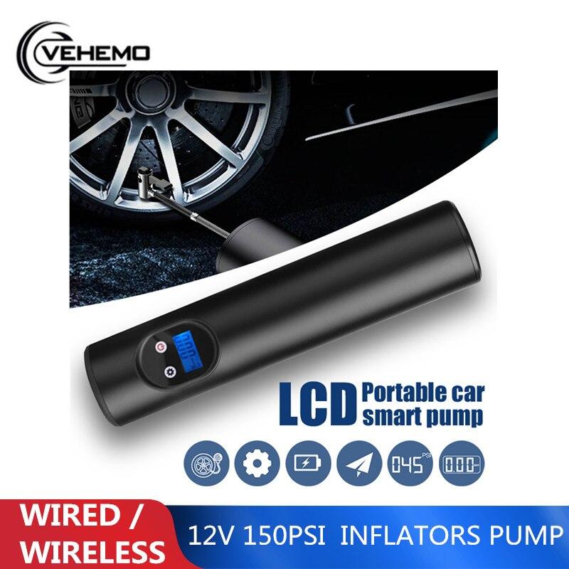 12V LCD medidor de presión Digital de la bomba inflador inflable inalámbrico del coche 150 PSI infladores de la motocicleta bomba de aire inalámbrica portátil