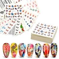 1 set nail water sticker flower flamingo beauty slider bloom colorful plant pattern 3d manicure sticker