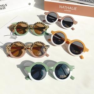 Children Boy Girl Cute Leopard Double Color Cartoon Bear Shape Round Sunglasses Kids Vintage Sunglasses UV400 Protection Classic