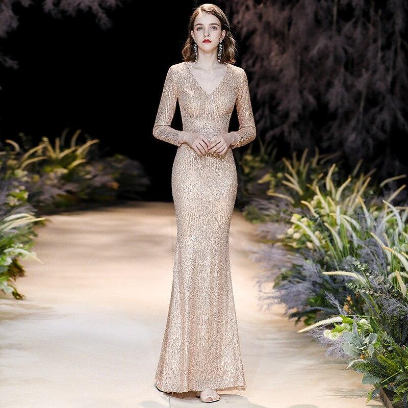 Beauty Emily-فستان سهرة أنيق على شكل حورية البحر ، فستان سهرة طويل ، مطرزة ، ياقة على شكل V ، سحاب خلفي ، جودة عالية ، طول الأرض