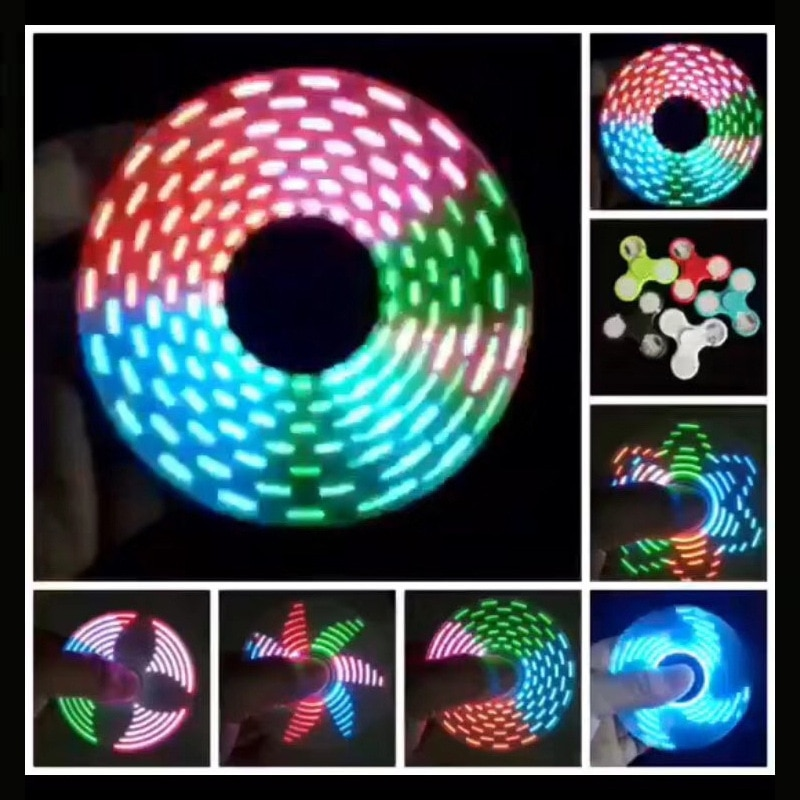 LED Variable 18 Colour Glowing Fingertip Spinning UV Three-Speed Lamp Glowing Fingertip Spinning Top Toy enlarge