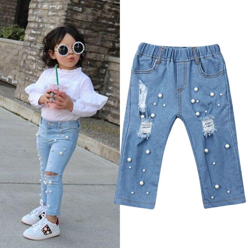 Newborn Toddler Kids Baby Girls Casual Holes Jeans Denim Long Pants Trousers
