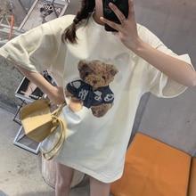 CMAZ Women 2021 Bear Short Sleeve Printing Summer Fashion Clothes Print Tshirt Female Tee Top Ladies