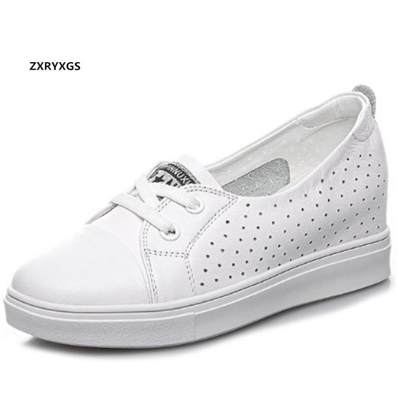 Promoção superior do couro macio oco sapatos de couro respirável sandálias 2020 novo aumentado dentro das cunhas salto alto sapatos casuais femininos