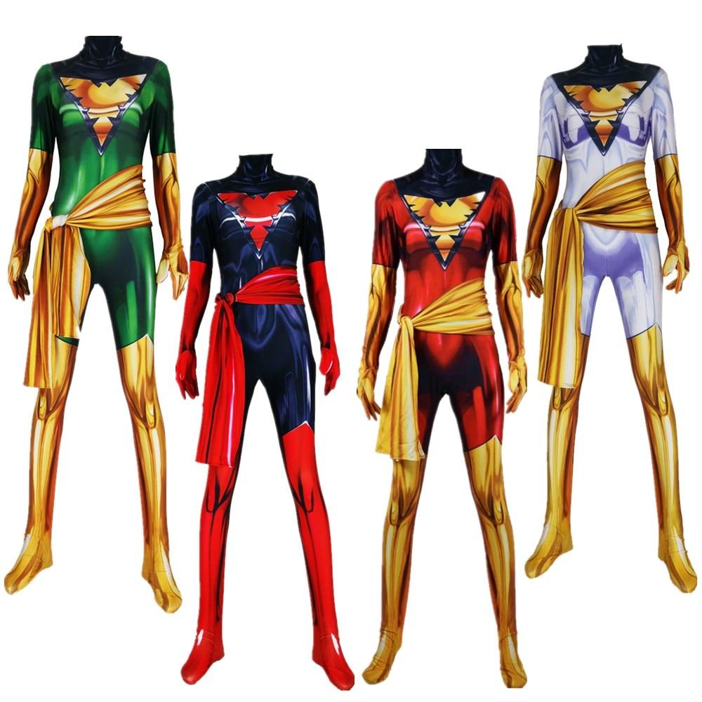 Phoenix traje Cosplay escuro X-Men Phoenix Superhero Spandex Lycra Zentai Bodysuit 3D Printting Dia Das Bruxas Partido terno