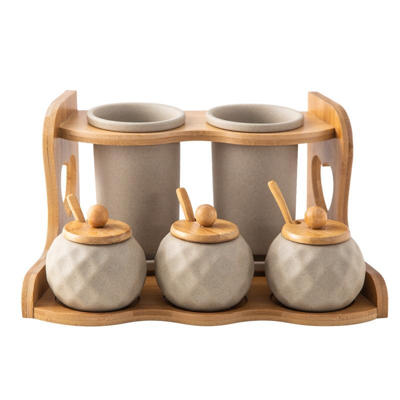 Créatif en céramique étagère à épices costume Restaurant ménage cuisine stockage bambou épice pot conteneur couteau fourchette baril assaisonnement boîte