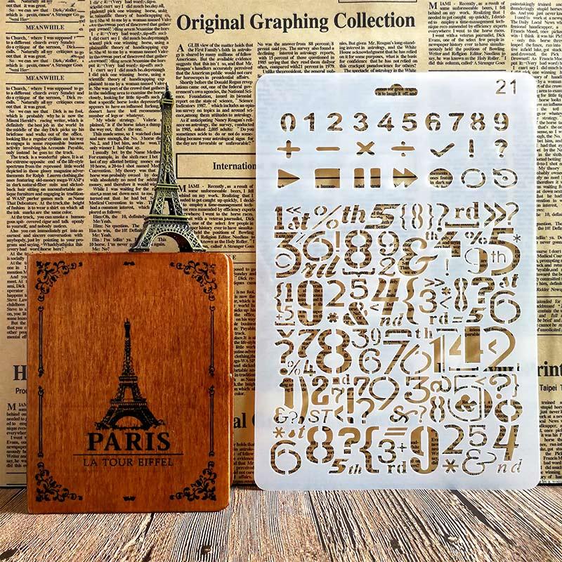 Number Symbol DIY Layering Stencils Wall Painting Scrapbook Coloring Embossing Album Decor Paper Card Drawing Template Tools