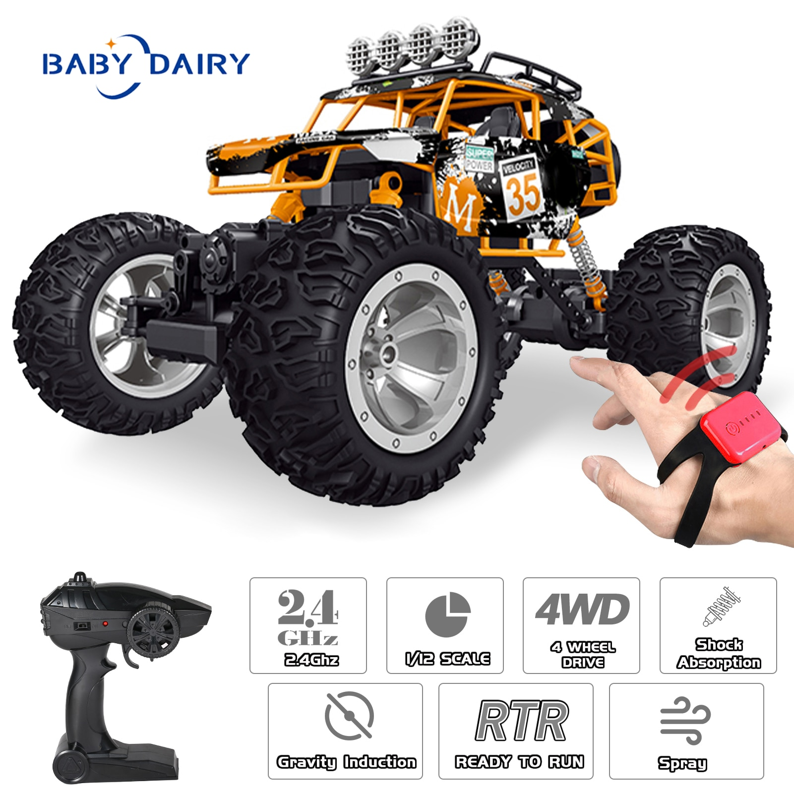 BABY DAIRY QX3688 RC Car 2.4Ghz 1/12 Spray Car Off Road RC Trucks 4WD Climbing Vehicle with Control
