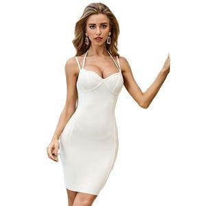 Spaghetti Strap V Neck Knee Length Newest Summer Style Sexy Lady Best Quality White Bandage Dresses