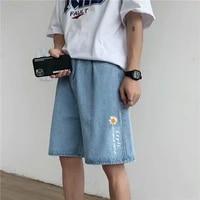 denim shorts mens summer loose 2021 new five point pants shorts thin straight korean style trendy shorts