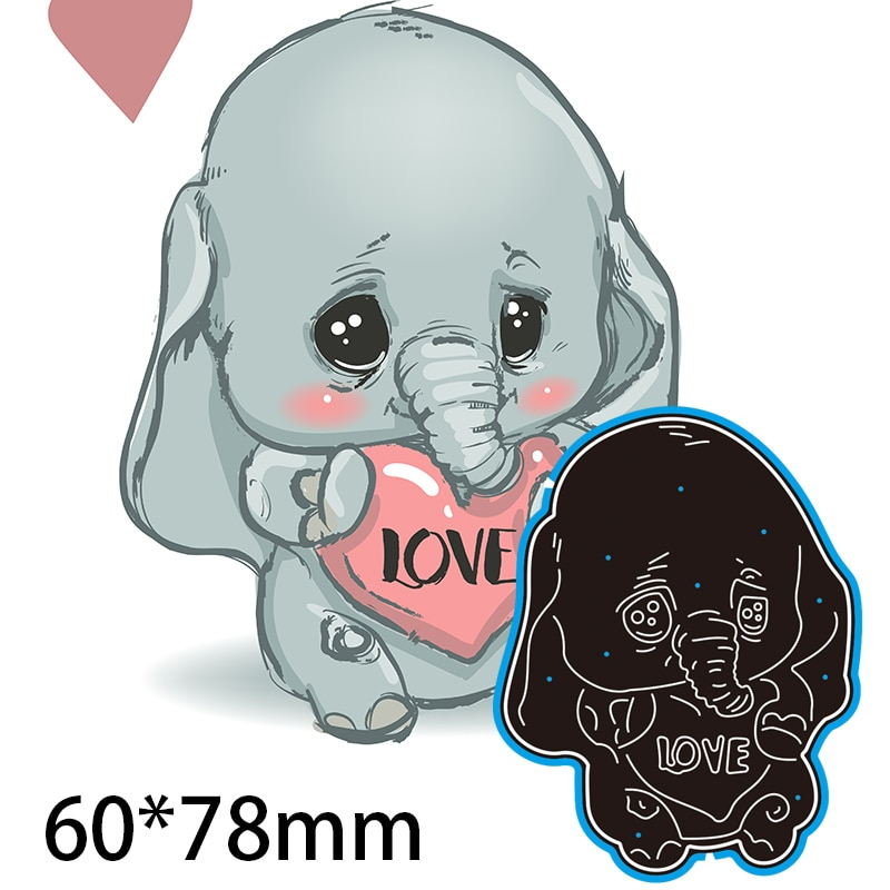 60*78mm Elephant Holding Love Heart Cutting Dies DIY Scrap Booking Photo Album Embossing Paper Cards