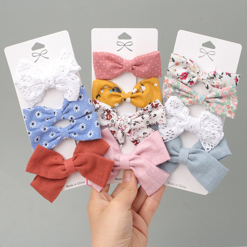 4pcs/set of Cotton Linen Leopard Print Hairpin Girl's Clip Lattice Hairpin Bowknot Hairpin Cotton Linen Hairpin Cute Headdress