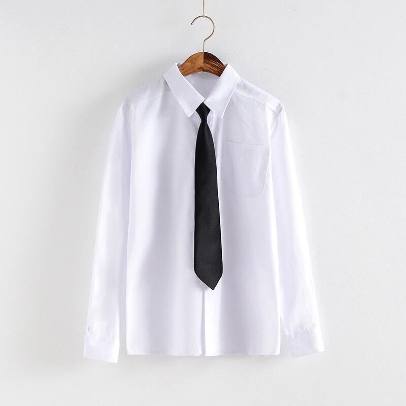Белые мужские и женские школьные рубашки, модные весенние японские рубашки с длинным рукавом в стиле преппи JK для девочек и мальчиков, женск...