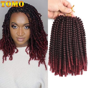 8Inch Spring Twist Crochet Braids Hair for Butterfly Locs Bomb Twist Crochet Hair Ombre Blonde Synthetic Fluffy Hair Extension
