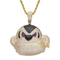 bling iced out gorilla monkey pendant micro pave zircon hipster street style animal hip hop necklace men jewelry gift