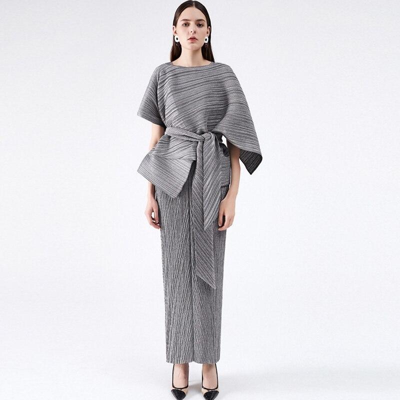 Issey Miyake مطوي بدلة على الموضة خريف 2021 جديد أنيق تنورة طويلة ضئيلة الراقية فستان الحفلات للنساء