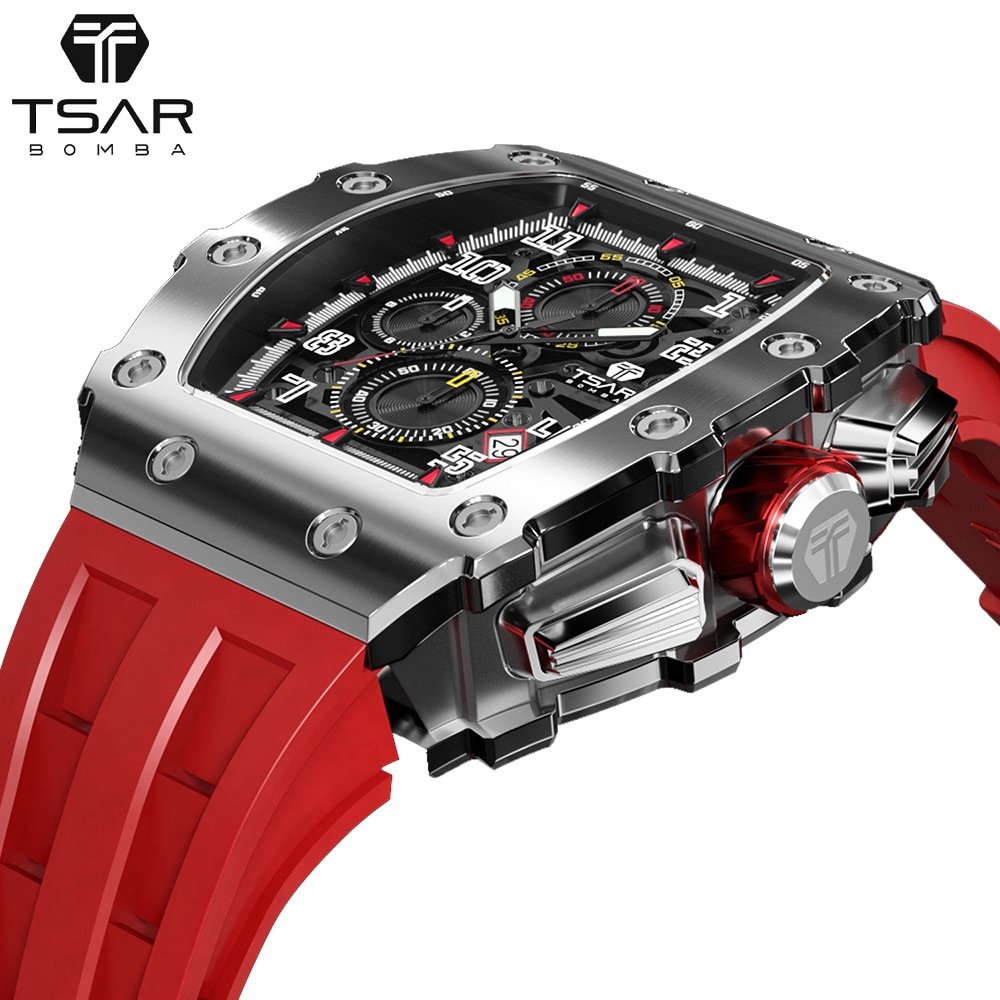 TSAR بومبا ساعة رجالي العلامة التجارية الفاخرة Tonneau تصميم 50 متر مقاوم للماء الفولاذ المقاوم للصدأ ساعة اليد الرياضة ساعة كرونوغراف للرجال