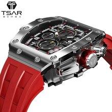 TSAR BOMBA Mens Watch Top Brand Luxury Tonneau Design 50M Waterproof Stainless Steel Wristwatch Spor