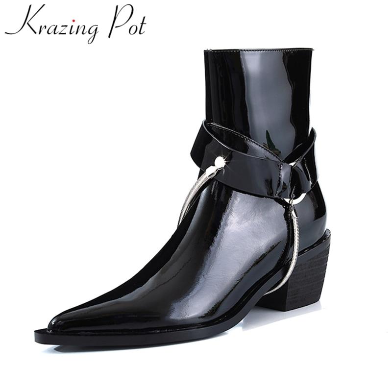 Krazing Pote superstar couro genuíno dedo apontado de calcanhar grosso zipper namoro sapatos de inverno da marca runway vestido de metal ankle boots L17