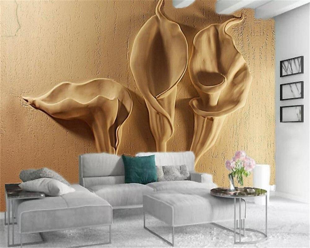 Papel pintado 3d con foto personalizada Mural 3d relieve tridimensional Calla Lily papel tapiz personalizado Simple de seda Floral HD