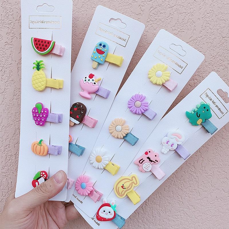 5 unids/set de nuevas horquillas de frutas de helado de dibujos animados bonitas para niñas, dulces pasadores, diadema pinzas para el pelo, accesorios de moda para el cabello